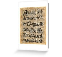 Retro Bicycles Vintage Illustration Dictionary Art Greeting Card
