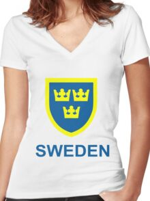 Country - Swedish Three Crowns Women's Fitted V-Neck T-Shirt