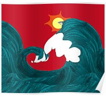 Shark Surfing Poster