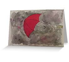 The flying red Umbrella - Der fliegende rote Regenschirm Greeting Card