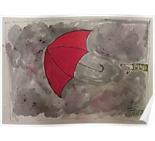 The flying red Umbrella - Der fliegende rote Regenschirm Poster
