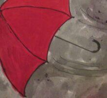 The flying red Umbrella - Der fliegende rote Regenschirm Sticker