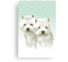 westies (mother and daughter) Canvas Print