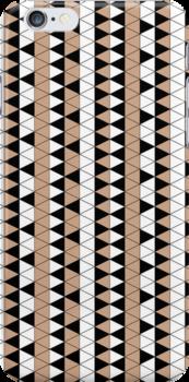 Mocha Triangle Check Stripe by pondripple