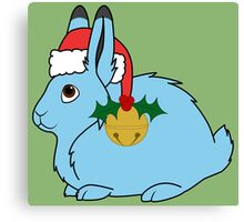 Light Blue Arctic Hare with Red Santa Hat, Holly & Gold Jingle Bell Canvas Print