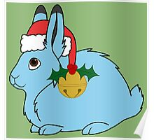 Light Blue Arctic Hare with Red Santa Hat, Holly & Gold Jingle Bell Poster