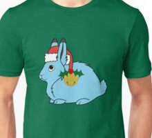 Light Blue Arctic Hare with Red Santa Hat, Holly & Gold Jingle Bell Unisex T-Shirt