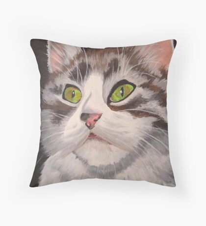 Long Haired Tabby Cat Portrait Throw Pillow
