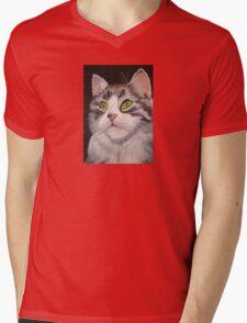Long Haired Tabby Cat Portrait Mens V-Neck T-Shirt