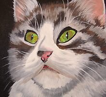 Long Haired Tabby Cat Portrait by taiche