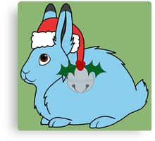 Light Blue Arctic Hare with Red Santa Hat, Holly & Silver Jingle Bell Canvas Print