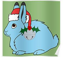 Light Blue Arctic Hare with Red Santa Hat, Holly & Silver Jingle Bell Poster