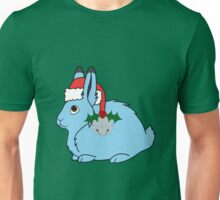 Light Blue Arctic Hare with Red Santa Hat, Holly & Silver Jingle Bell Unisex T-Shirt