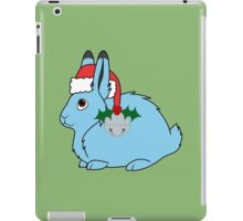 Light Blue Arctic Hare with Red Santa Hat, Holly & Silver Jingle Bell iPad Case/Skin