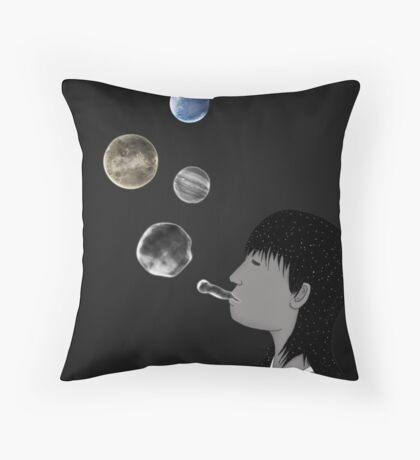 Blowing planets Throw Pillow