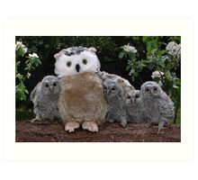 Rescued Owlets get a stuffed toy Mum! Art Print