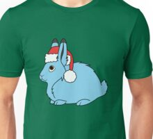 Light Blue Arctic Hare with Christmas Red Santa Hat Unisex T-Shirt