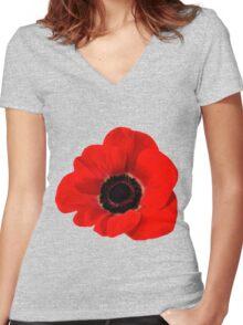 Poppy flower Women's Fitted V-Neck T-Shirt