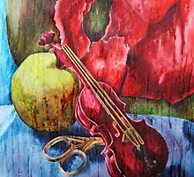 'Cutting Strings' Painting by Rebecca by RebeccaSpragge