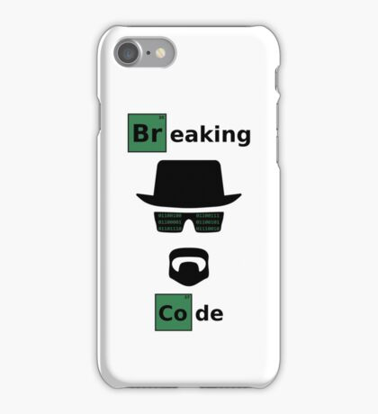 Breaking Code - Black/Green on White Bad Parody Design for Hackers iPhone Case/Skin