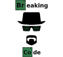 Breaking Code - Black/Green on White Bad Parody Design for Hackers Photographic Print
