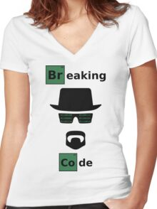 Breaking Code - Black/Green on White Bad Parody Design for Hackers Women's Fitted V-Neck T-Shirt