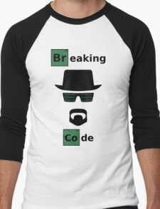 Breaking Code - Black/Green on White Bad Parody Design for Hackers Men's Baseball ¾ T-Shirt