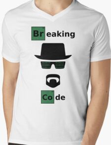 Breaking Code - Black/Green on White Bad Parody Design for Hackers Mens V-Neck T-Shirt