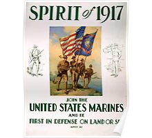 Spirit of 1917 Join the United States Marines and be first in defense on land or sea Poster