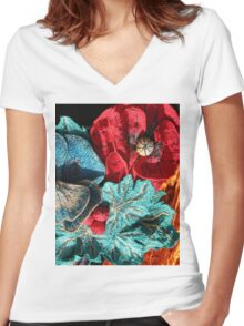 Poppy Machine Embroidery no.4 Women's Fitted V-Neck T-Shirt