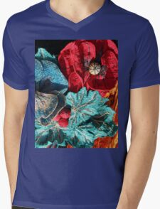 Poppy Machine Embroidery no.4 Mens V-Neck T-Shirt