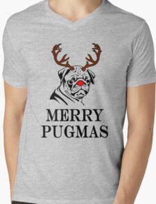 Merry Pugmas Mens V-Neck T-Shirt
