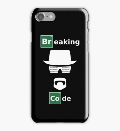 Breaking Code - White/Green on Black Bad Parody Design for Hackers iPhone Case/Skin