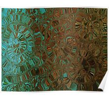Brown and Teal Contemporary Art Print Poster