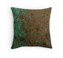 Brown and Teal Contemporary Art Print Throw Pillow