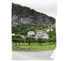 Houses on the cliff in Geiranger Poster