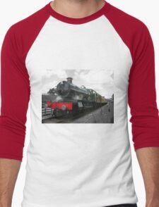 Vintage steam engine railway train Men's Baseball ¾ T-Shirt