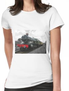 Vintage steam engine railway train Womens Fitted T-Shirt