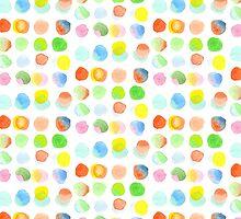 Hand-Painted Watercolor Colorful Polka Dots Rainbow Circles by Beverly Claire Kaiya
