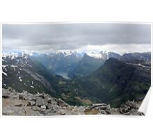 Geiranger Mountains in Norway Poster