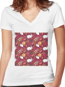Woodland Excitement in Red Women's Fitted V-Neck T-Shirt