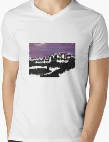 Abstract Cityscape over water Mens V-Neck T-Shirt