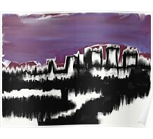 Abstract Cityscape over water Poster