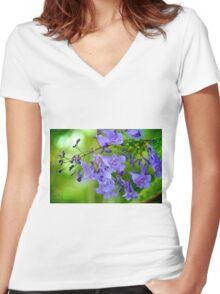 Jacaranda Blossoms Women's Fitted V-Neck T-Shirt