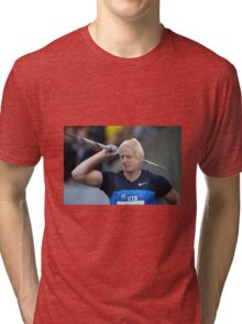 Boris competes in Olympic javelin Tri-blend T-Shirt