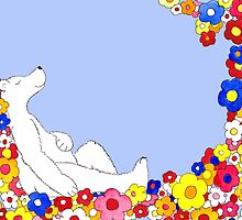Sleeping Polar Bear Dreaming of Flowers by vauka