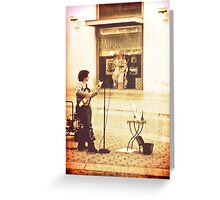 And she sang the songs of Edith Piaf Greeting Card