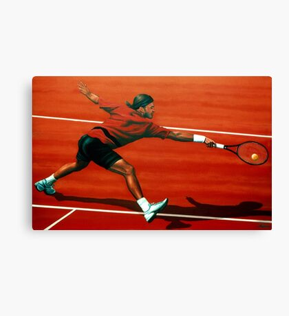 Roger Federer at Roland Garros painting Canvas Print
