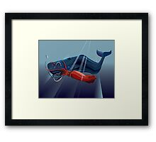 Giant Squid and Sperm Whale Framed Print