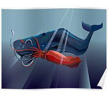 Giant Squid and Sperm Whale Poster